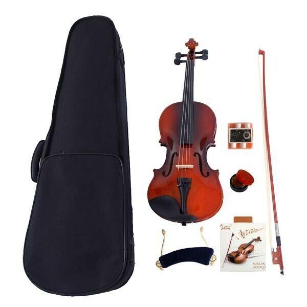 4/4 Acoustic Violin Case Bow Rosin Strings Tuner Shoulder Rest Natural