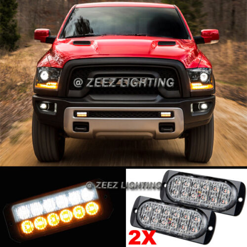 2X White&Amber 12 LED Emergency Hazard Flash Strobe Warning Beacon Light Bar C10