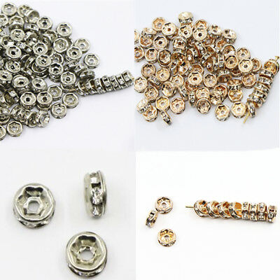 100PCS 6MM Round Rhinestone Spacer Beads DIY Crafts Bracelet Jewelry Making