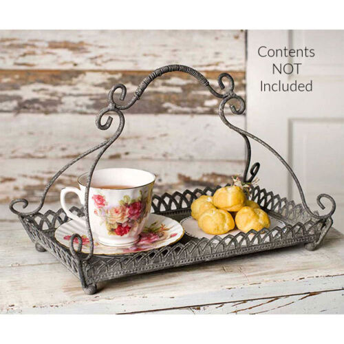 New French Country Cottage Farmhouse Rustic CHANTILLY METAL TRAY Basket Stand