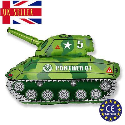 JUMBO Green Tank Army Panther Balloon CE Approved Birthday Foil Air Helium  - Jumbo Helium Tank
