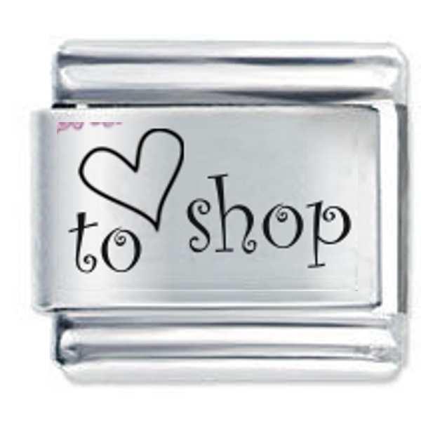 9mm Italian Charm L42  Shopping Love to Shop Fits Classic Size Bracelet