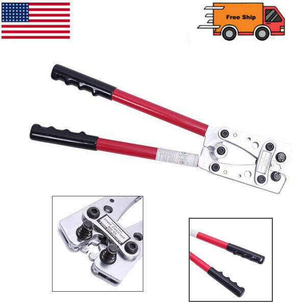 Wire Terminal Crimping Tool 6-50mm² Cable Lug Crimper Cu/Al Terminal Plier Red