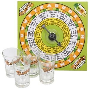 Slurred A to Z Board Drinking Game Party Bar Shot Glass