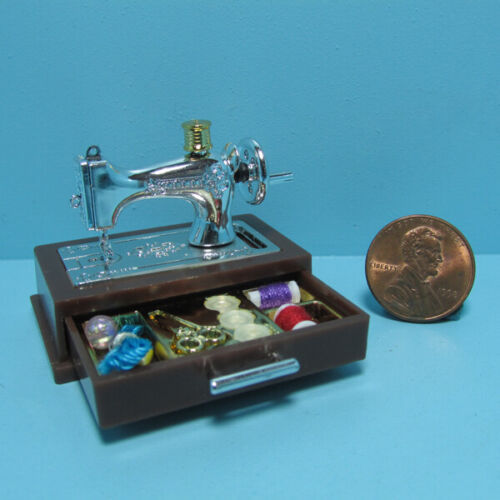 Dollhouse Miniature Sewing Machine with Drawer and Lots Accessories G7326