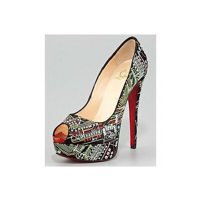 100% AUTH NEW WOMEN LOUBOUTIN LADY PRIVE PEEP GEEK PLATFORM PUMPS/HEELS US 6