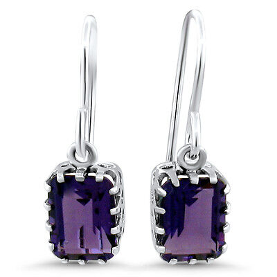 AMETHYST LAB VICTORIAN ANTIQUE DESIGN 925 STERLING SILVER EARRINGS,   #601