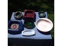 Vintage pub ashtrays, Fosters, Harp, Castella, etc, very good condition,