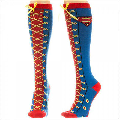 Supergirl Knee High Socks (Superman Supergirl DC Comics Cosplay Costume Faux Lace Up Knee High Boot)