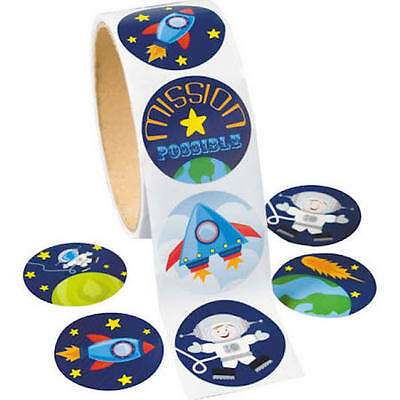 25 space Stickers Party Favor Teacher Supply Rocket Astronaut mission Earth](Party Rocket)