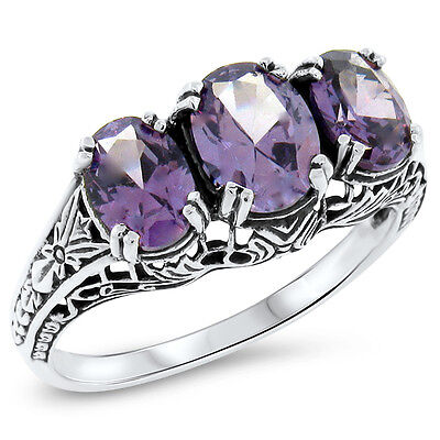 COLOR CHANGING LAB ALEXANDRITE ANTIQUE DECO STYLE .925 SILVER RING SZ 9,#422
