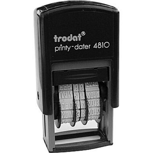 Trodat 4810 Printy Dater, Mini Self-inking Date Stamp, 4mm, BLACK INK, 2021