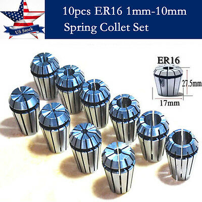 10pcs Er16 Spring Collet Set For Cnc Milling Lathe Tool Engraving Machine -us