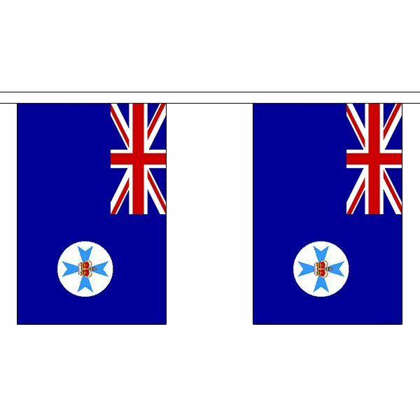 Queensland Flag Bunting - 3m 6m 9m Metre Length 10 20 30 Flags - Polyester