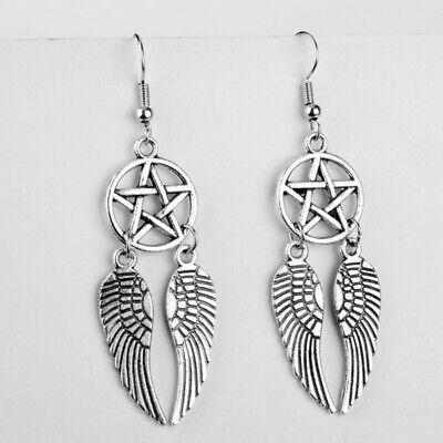 Angel Wings-Pentagram Earrings- Silver Pentagram - Wiccan - Supernatural Earring