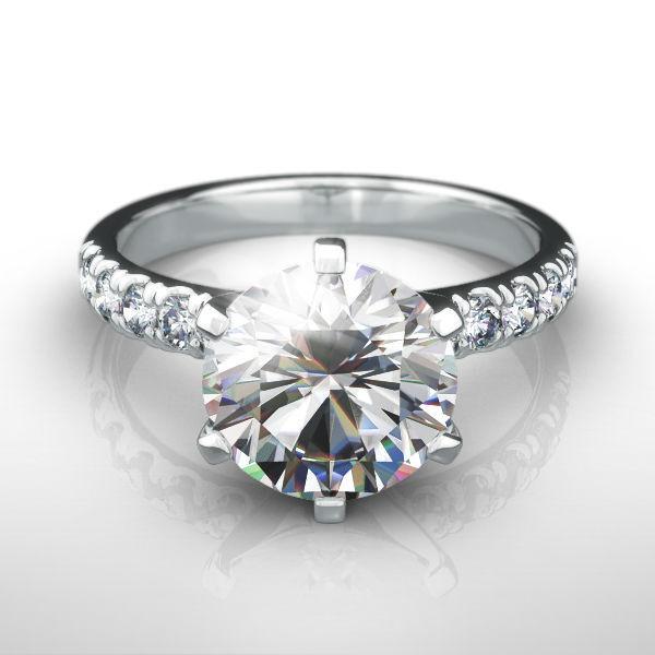 Diamond Ring Round Brilliant 2.5 Carats Colorless Women Vs1 14k White Gold
