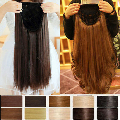 Real Thick Women Lady Fall Half Wig 3 4 Wig Clip In Hair Piece 2014 Hallowmas H5