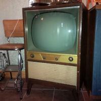 Télévision / TV Vintage années 50 fonctionnel Noir & Blanc
