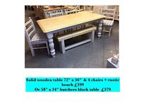 Vintage, shabby chic, country kitchen Solid wood table & 4 chairs +rustic bench