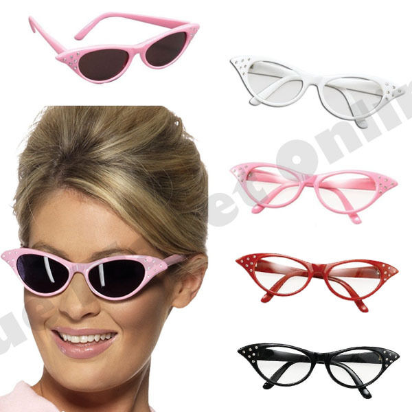 Red 1950/'s Rock /'n/' Roll Grease Style Fancy Dress Party Glasses