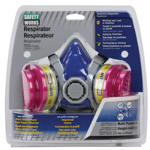HALF FACE RESPIRATOR LEAD/PAINT OSHA/OV RATED - SAFETY WORKS SWX00320 - MEDIUM