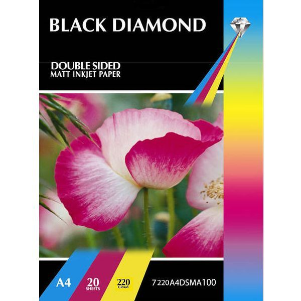 100 x A4 220GSM Premium Double Sided Matte Photo Inkjet Paper by Black Diamond