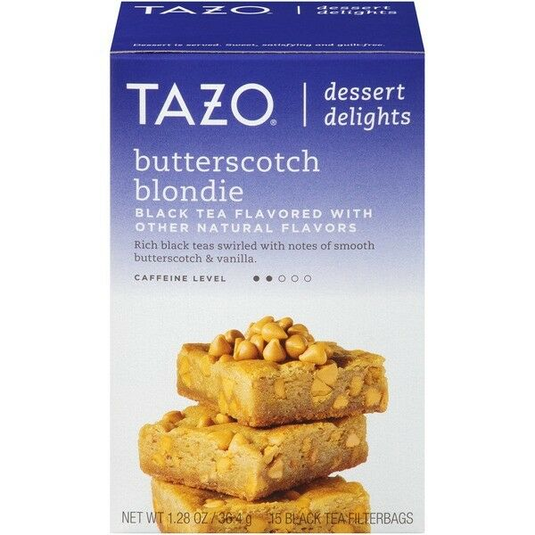 Tazo Butterscotch Blondie Dessert Delights Tea Bags 15 Black