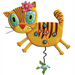 Allen Designs Adorable Kimi Kitty Cat Pendulum Kids Wall Clock