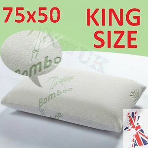 Large king size bamboo pillows memory foam anti allergic for How big are king size pillows