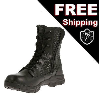 New Bates Code 6  Ew Extra Wide Black 8 Inch Zipper Leather Nylon Uniform Boot