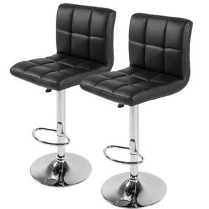 Hexagrid PU Height Adjustable Bar Stool (Set of 2)