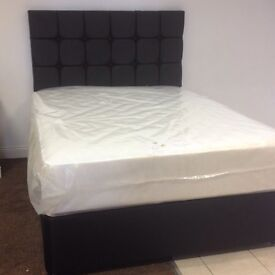 Black leather headboard and bed orthopaedic mattress