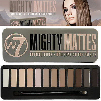 W7 Mighty Mattes EyeShadow Palette 12 Colours Browns Nude Smokey Primer Blend