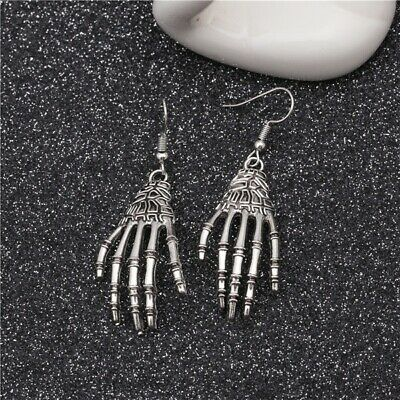 Halloween Day Vintage Carved Bone Skull Skeleton Hands Earrings Big Punk Jewelry