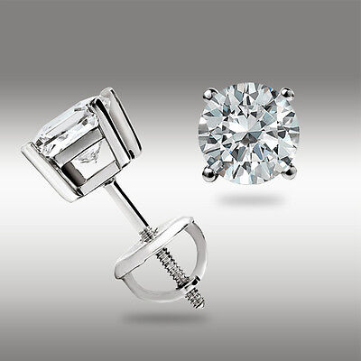 .50 Ct Stud Earrings 14K White Gold Round Cut Basket Set Screw back Pierced 14k White Gold Set