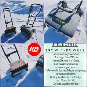 2 Electric Snow Throwers - will separate