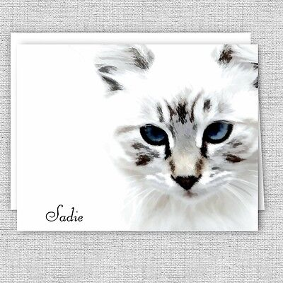 Cat Lovers Personalized Note Cards - Stationery Set - Set of 10 Folded