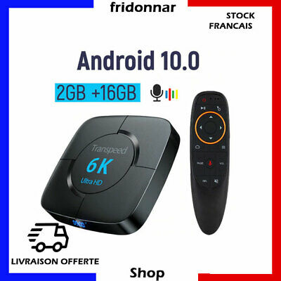 IPTV Transpeed Android 10.0 Bluetooth TV Box Assistant vocal Google 4K Wifi