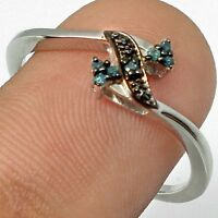 BLUE DIAMONDs set in 925 HALLMARKED STERLING SILVER RING size 7