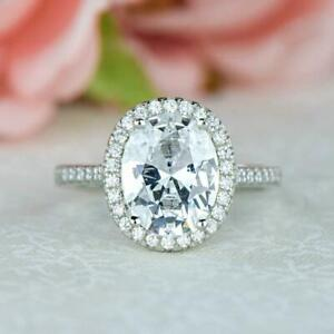 2 Carat Oval Halo Moissanite Engagement Ring In 14k White Gold