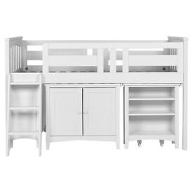 "Child Bed ""Harvey Sleep Station"" Ladder Left Ivory (Bed + Table + Drawers)"