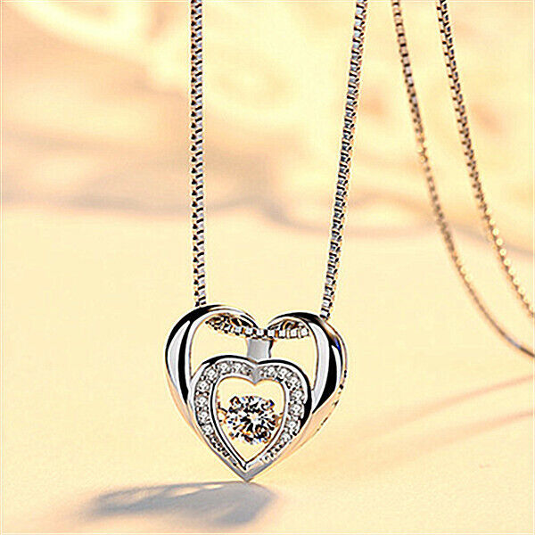 Jewellery - Double Heart Pendant 925 Sterling Silver Chain Necklace Womens Girls Jewellery