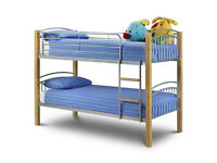 julian bowen aztec bunk bed plus mattresses and 2 underbed metalic drawers.