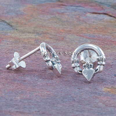(Irish Celtic CLADDAGH EARRINGS Heart Hands Post Stud Small 925 sterling silver )