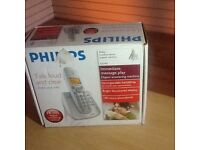 Philips Cordless Phone set in silver one ha set new in box unused