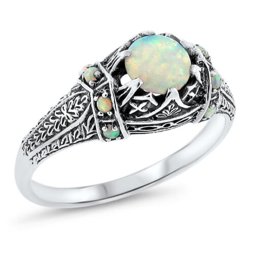 WHITE LAB OPAL ANTIQUE VICTORIAN DESIGN .925 STERLING SILVER RING,          #643