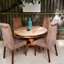 Mango Wood Parquetry Round Dining Table & 4 Chairs Coogee Eastern Suburbs Preview