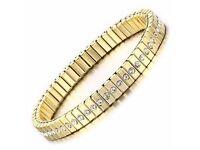 Gold Plated Rhinestone Box Chain Bracelet