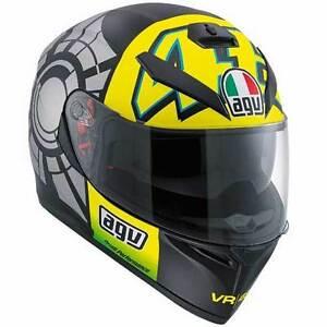 agv k3 sv winter test 2012 valentino rossi vr46 motorcycle helmet all sizes ebay. Black Bedroom Furniture Sets. Home Design Ideas