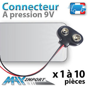 1 10 x connecteur pile 9 volts type t noir 6f22 6lr61 clip pression 9v ebay. Black Bedroom Furniture Sets. Home Design Ideas